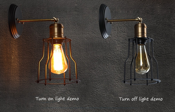 Industrial Retro Vintage Rustic Loft Sconce Shade Bar Cage Wall Light Lamp