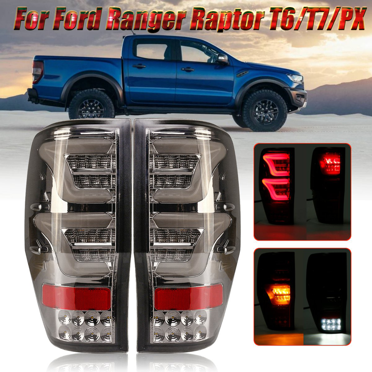 LED Car Tail Light with Bulbs Wiring Smoked Cover for Ford Ranger Raptor T6 T7 PX MK1 MK2 Wildtrak 12-18