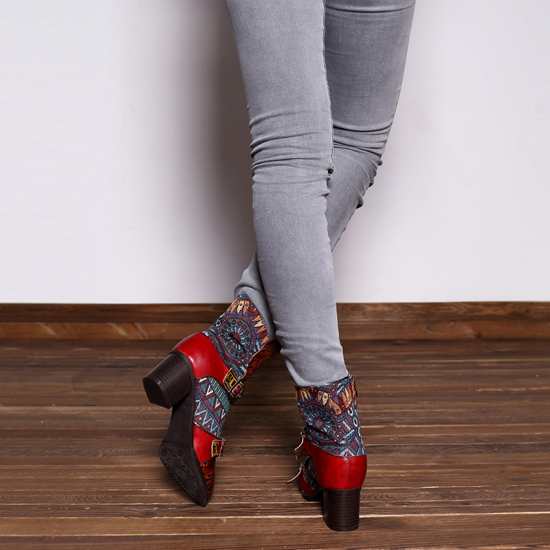 SOCOFY Genuine Leather Handmade Printing Zipper Ankle Boots