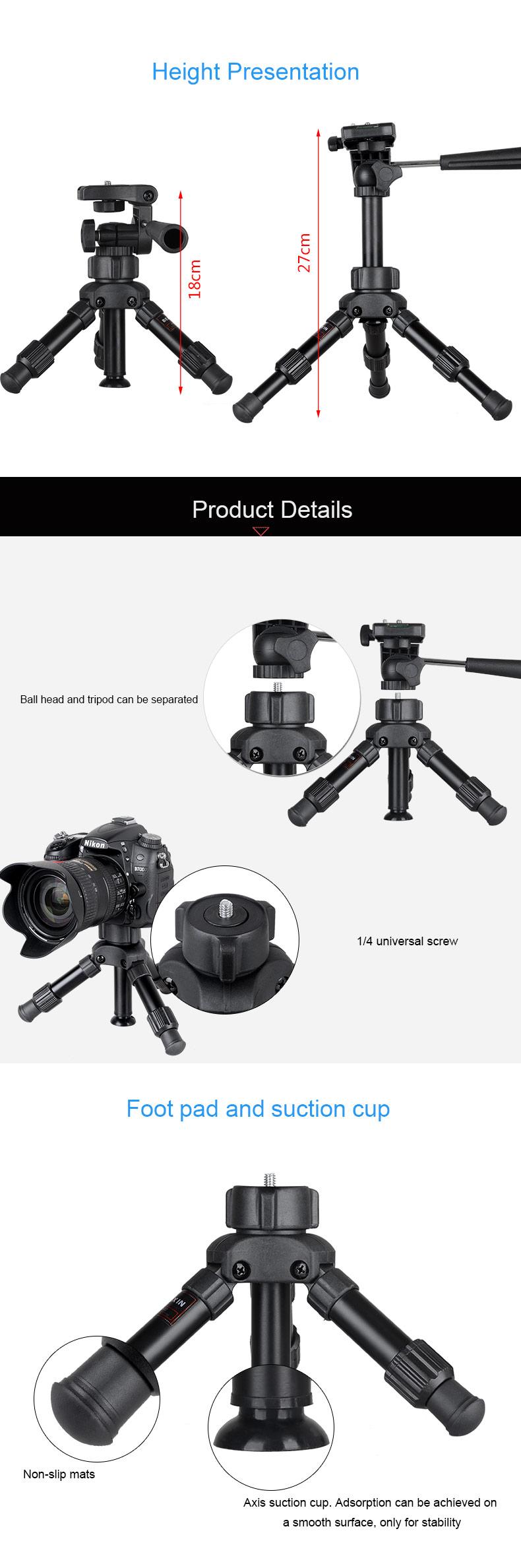 Bakeey MS02 Aluminum Alloy Mini Portable Desktop Tripod Kit 3-Way Ball Head for Live Phone Camera