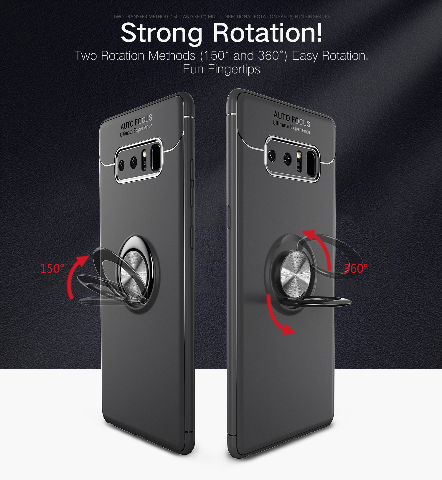 C-KU 360º Rotating Ring Grip Kicktand Protective Case For Samsung Galaxy Note 8