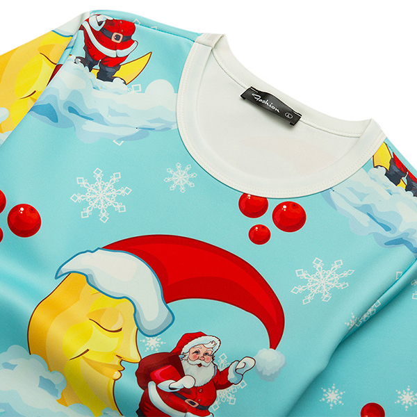 Santa Claus Printed Sweater Mens Casual Loose Cartoon Personality Pullover Sweaters