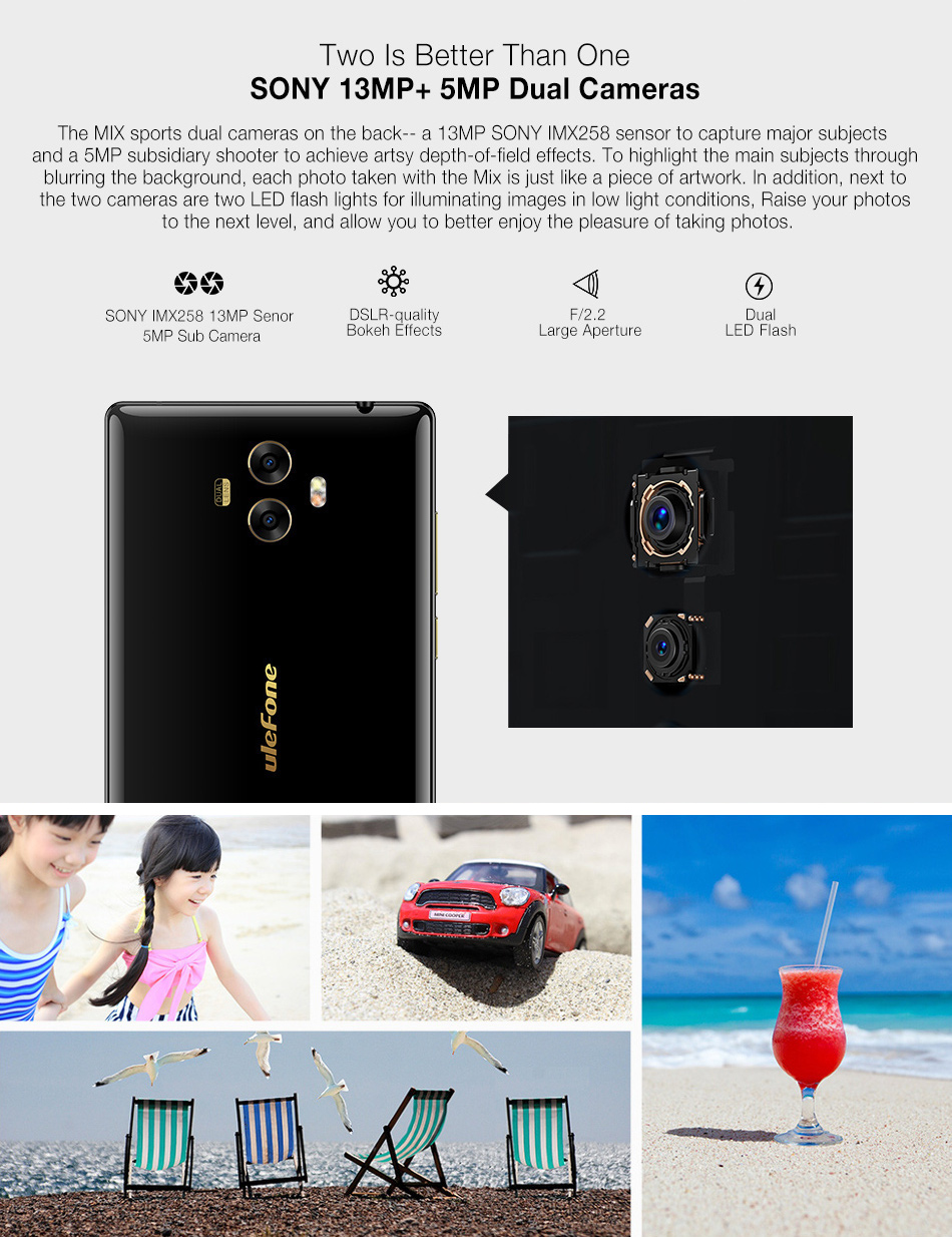 Ulefone MIX 5.5 inch All Screen 4GB RAM 64GB ROM MT6750T Octa core 4G Smartphone