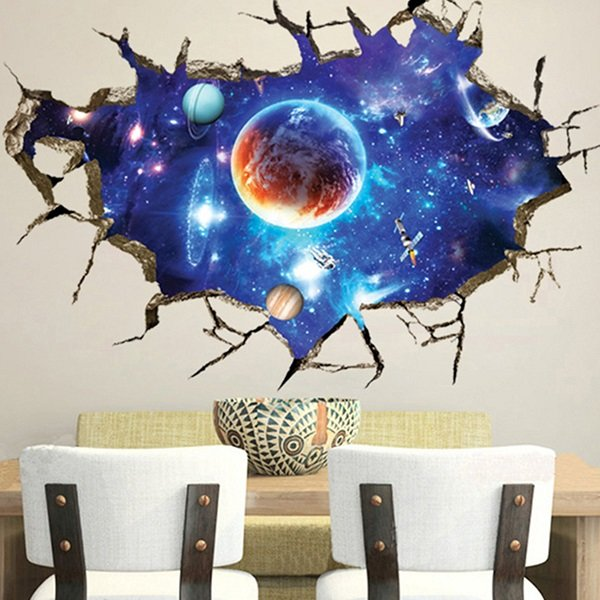 3D Sticker Outer Space Wall Stickers Home Decor Mural A