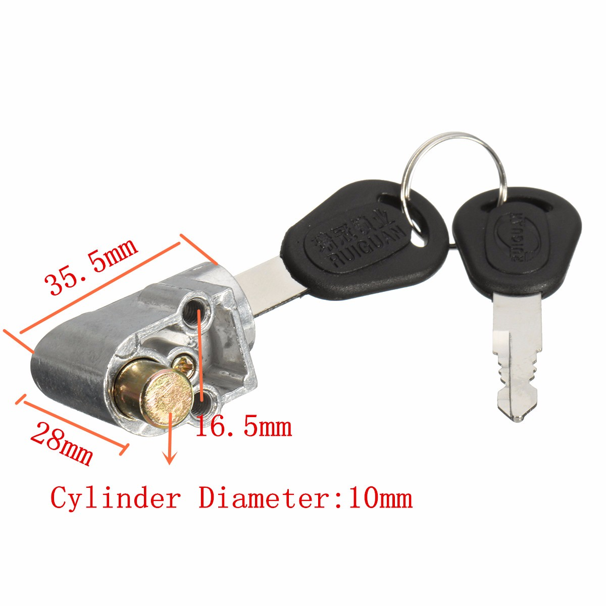 Ignition Switch Battery Safety Lock For Motorcycle Electric Bike Scooter +2 Keys