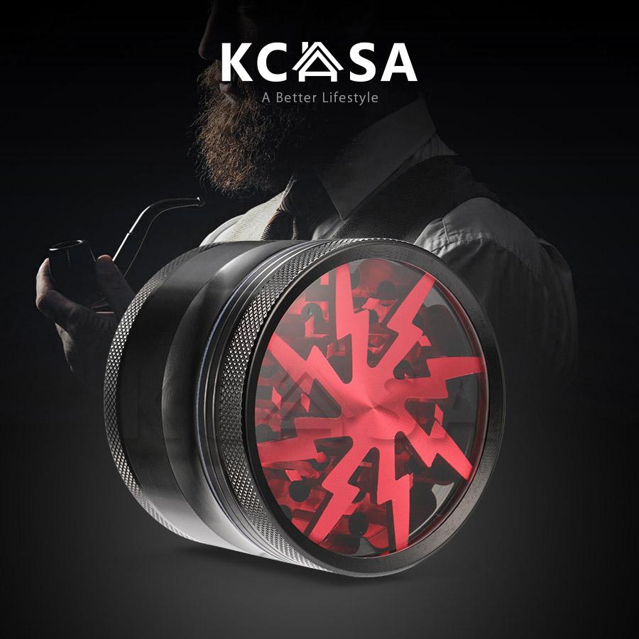 KCASA KC-XS01 4 Layer Tobacco Herb Grinder Tobacco Plant Crusher Powder Catcher Hand Pulverizer