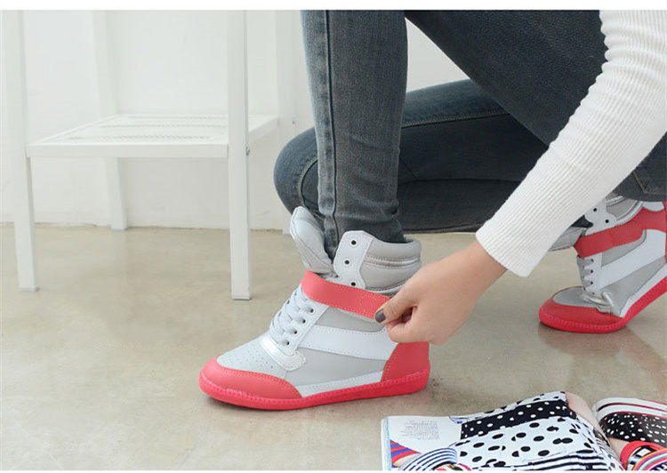 Fashion Women Ankle Boots Wedges Shoes Casual Height Increased High Top Sneakers