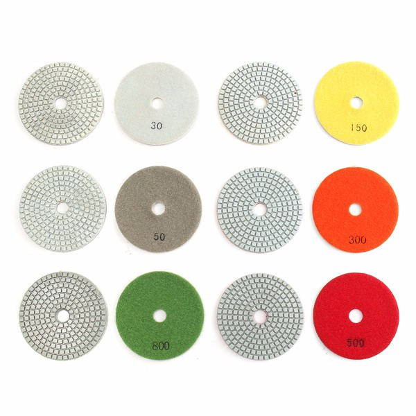 19pcs 4 Inch 30-3000 Grit Diamond Polishing Pads with M16 Backer Pad