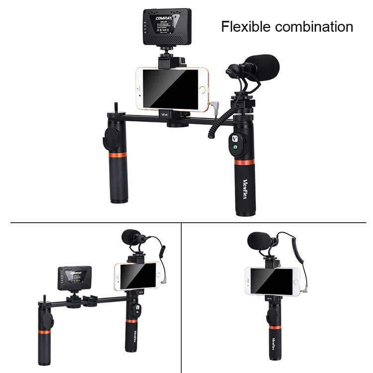 VIEWFLEX VF-H7 bluetooth Electronic Video Grip Stabilizer with Smartphone Clamp LED Light Microphone Remote Control 2 x Handle 2 x Connecting Rod for iPhone for Samsung for Huawei Smartphones