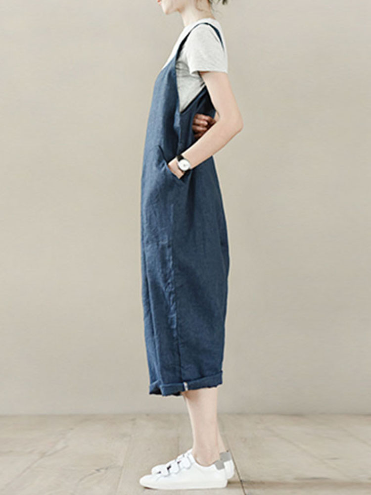 Women Solid Color V-neck Pocket Loose Cotton Jumpsuit