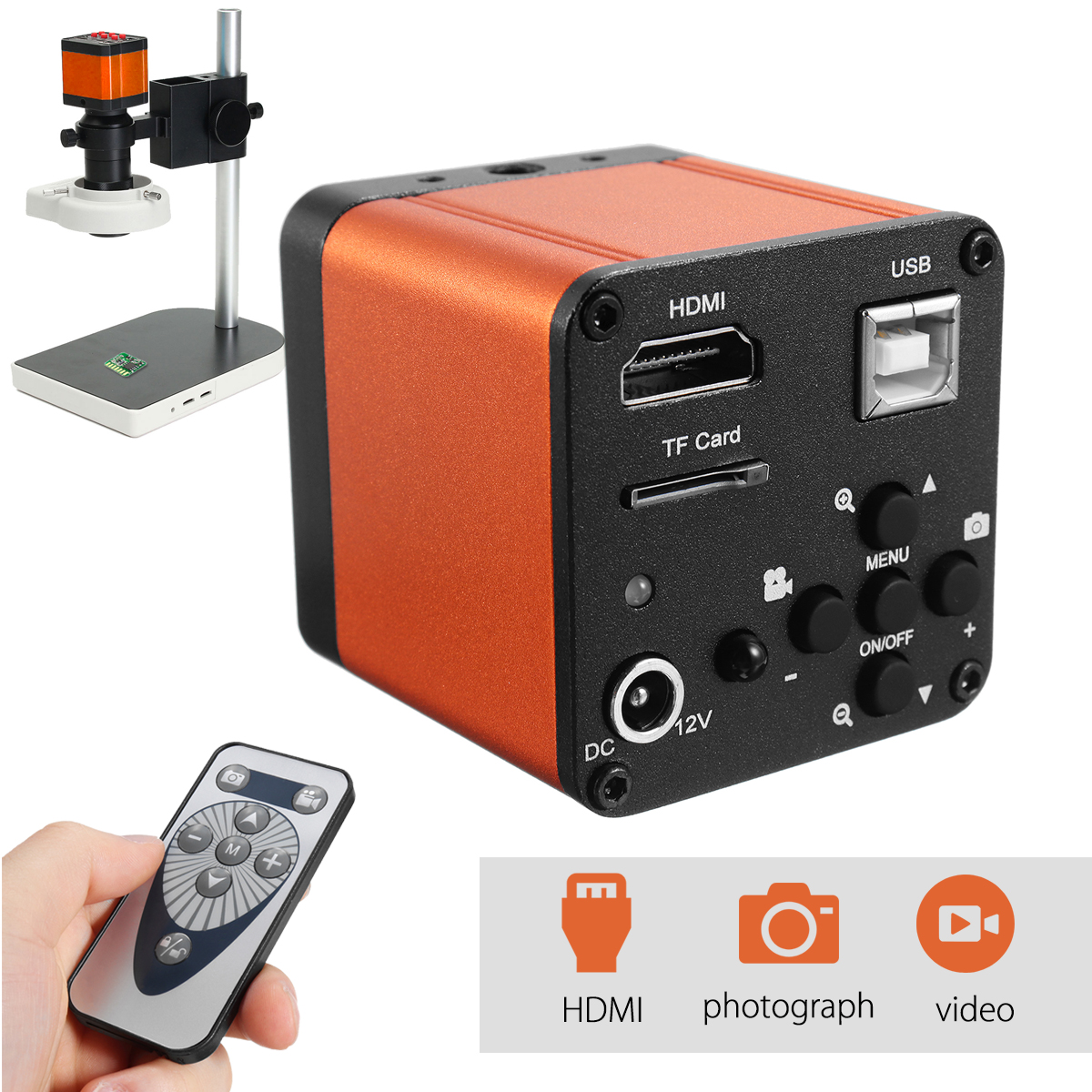 USB Digital Industry Video Inspection Microscope Camera Set TF Card Video Recorder