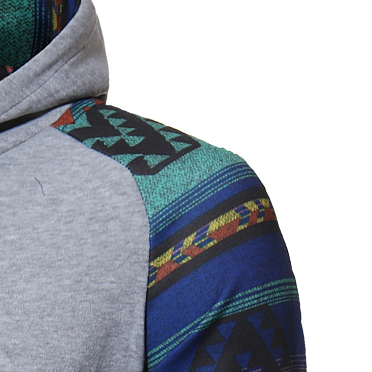 Autumn Folk Style Stylish Stitching Printed Raglan Hoodies Men's Casual Sports hooded Sweater