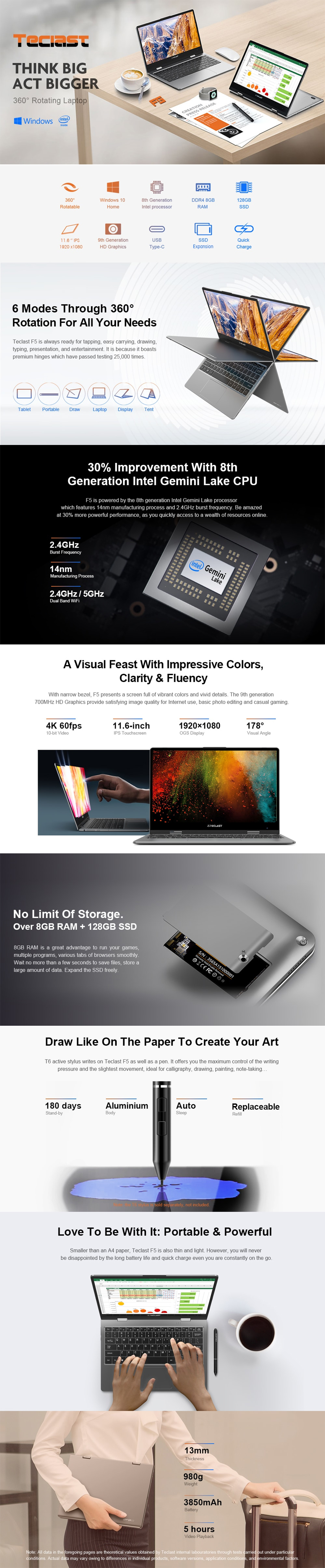 Teclast F5 11.6 Inch Touch Screen 360° Rotating Intel Gemini Lake N4100 8GB DDR4 128GB SSD Laptop