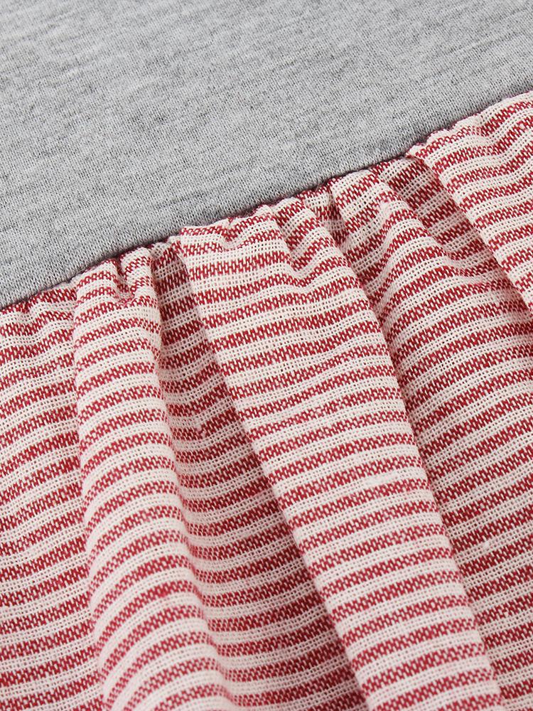 Striped Stitching Irregular Hem Blouse