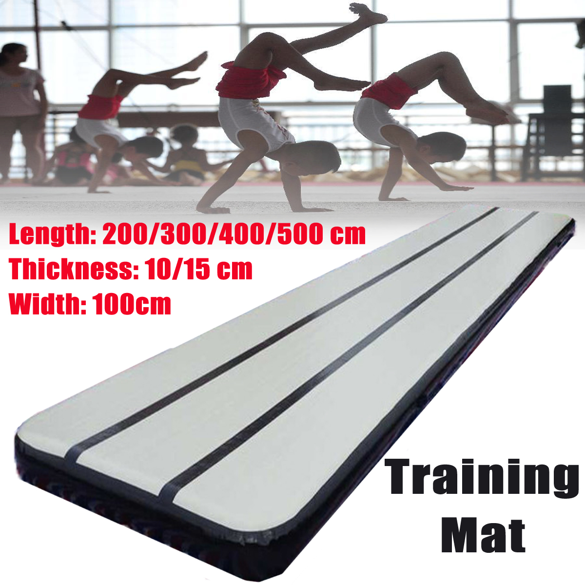 2/3/4/5M Air Tumbling Track Roller Inflatable Mat Home Training Sports Protector for Gymnastics