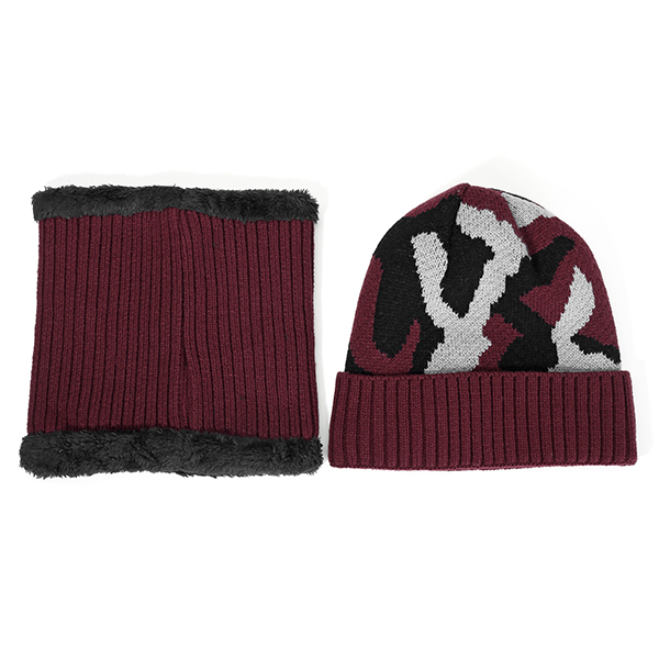 Men Knitted Warm Beanie Hat & Collar Scarf Set