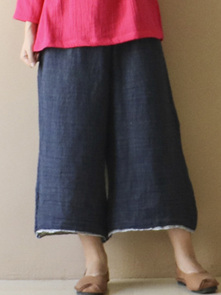 Women Vintage Elastic Waist Wide Leg Solid Loose Pants