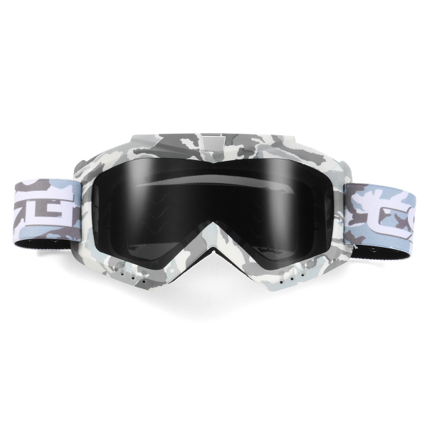 Motorcycle Helmet-in Goggles Clear Dark Grey Lens Detachable Modular Mask