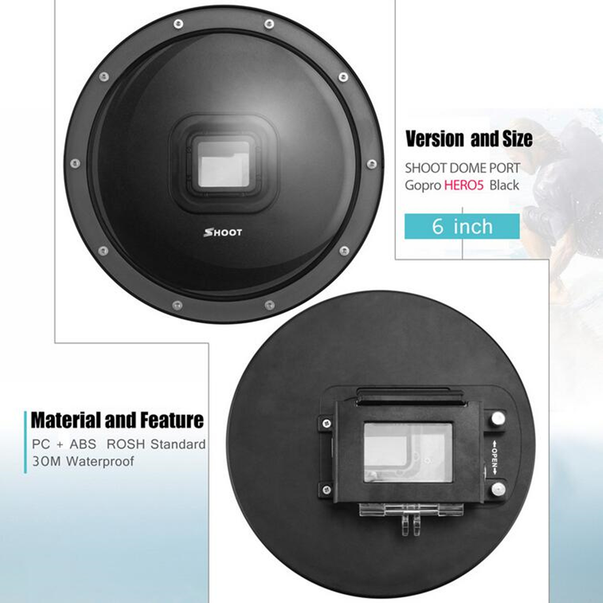 SHOOT Black Dome Port Lens Diving Cover Case For Gopro Hero 5 HD Action Camera