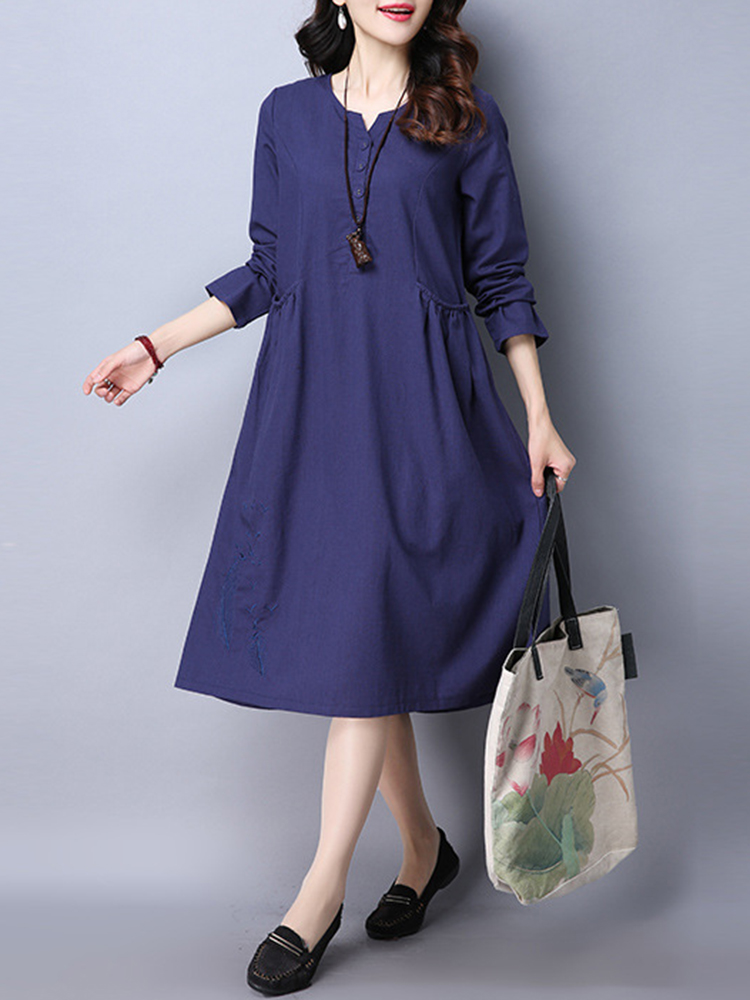 Casual Women O-Neck Long Sleeve Embroidered Dress