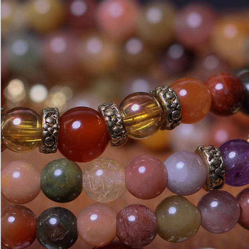 Vintage Natural Colorful Crystal Quartz Beads Bracelet