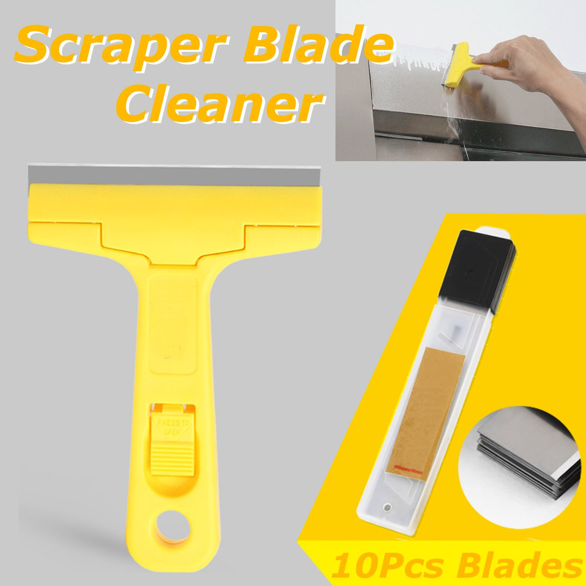 Aquarium Glass Scraper Blade Cleaner with 10Pcs Blades