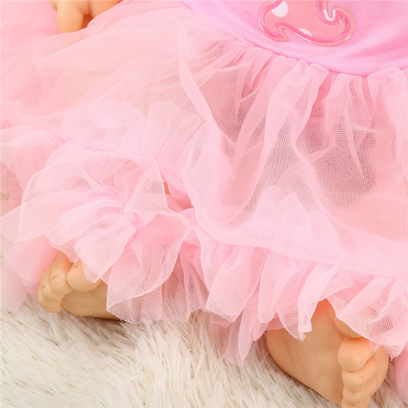 Pink Cotton Baby Dolls Clothes Dress With Headdress Without Reborn Baby Doll