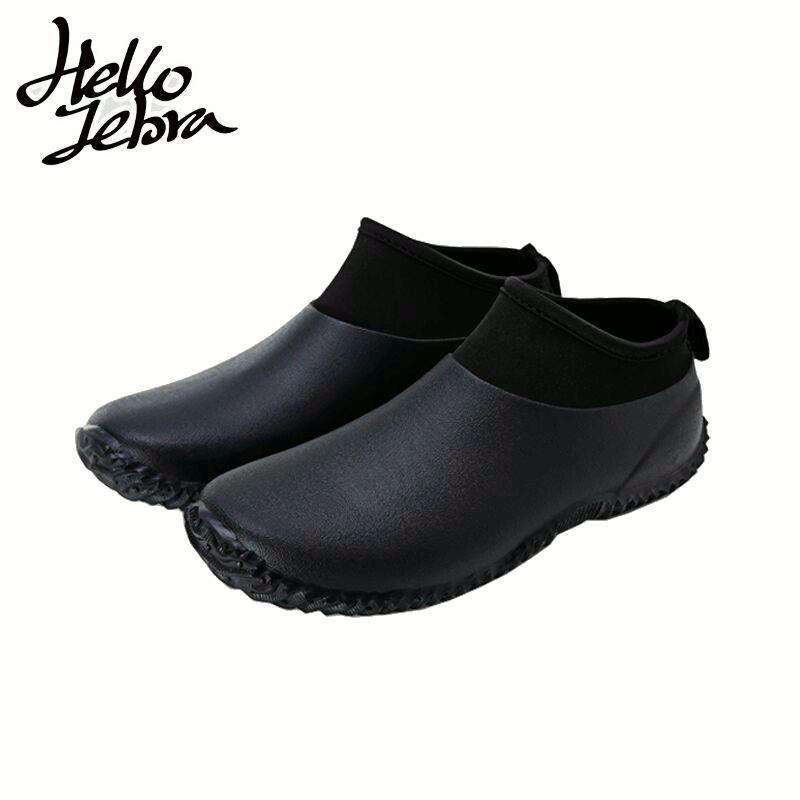 Hellozebra Men Women Rain Boots Leisure Cattle Blooming Water Low Short Car Wash Waterproof Shoes
