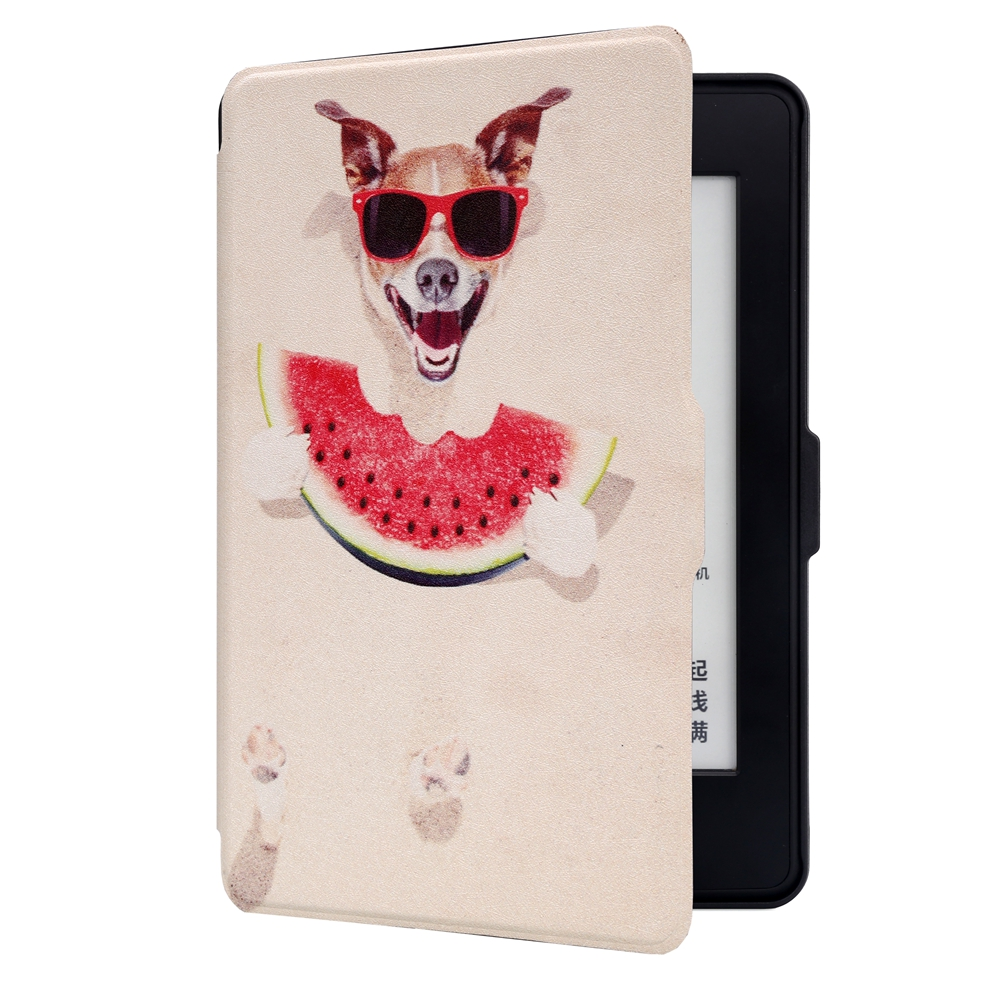 ABS Plastic Cartoon Dog Painted Smart Sleep Protective Cover Case For Kindle Paperwhite 1/2/3 eBook