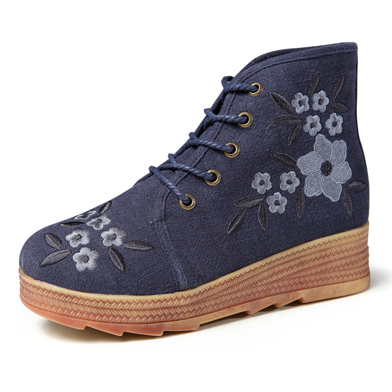 Folkways Embroidery Old Peking Wedge Ankle Boots