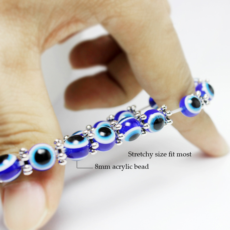 Vintage Resin Fatima Hand Blue Eyes Beads Trendy Elastic Bracelet for Women