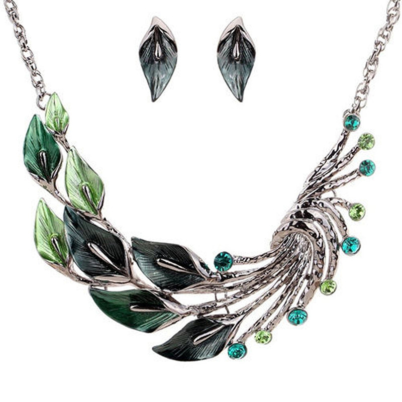 Gradient Color Leaf Peacock Enamel Crystal Necklace