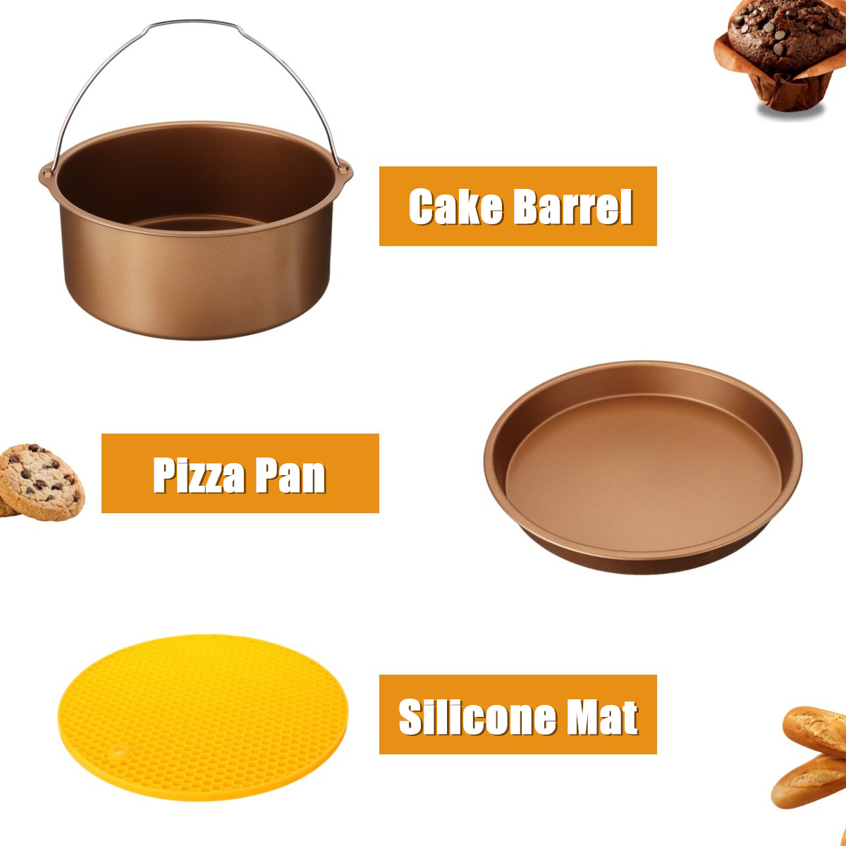 5Pcs 8'' Air Fryer Accessories Set Cake Pizza BBQ Roast Barbecue Baking Pan