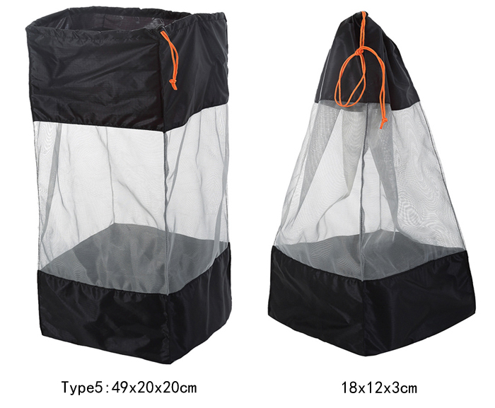 Multi Size Portable Outdoor Camping Ultralight Mesh Stuff Sack Drawstring Storage Bag