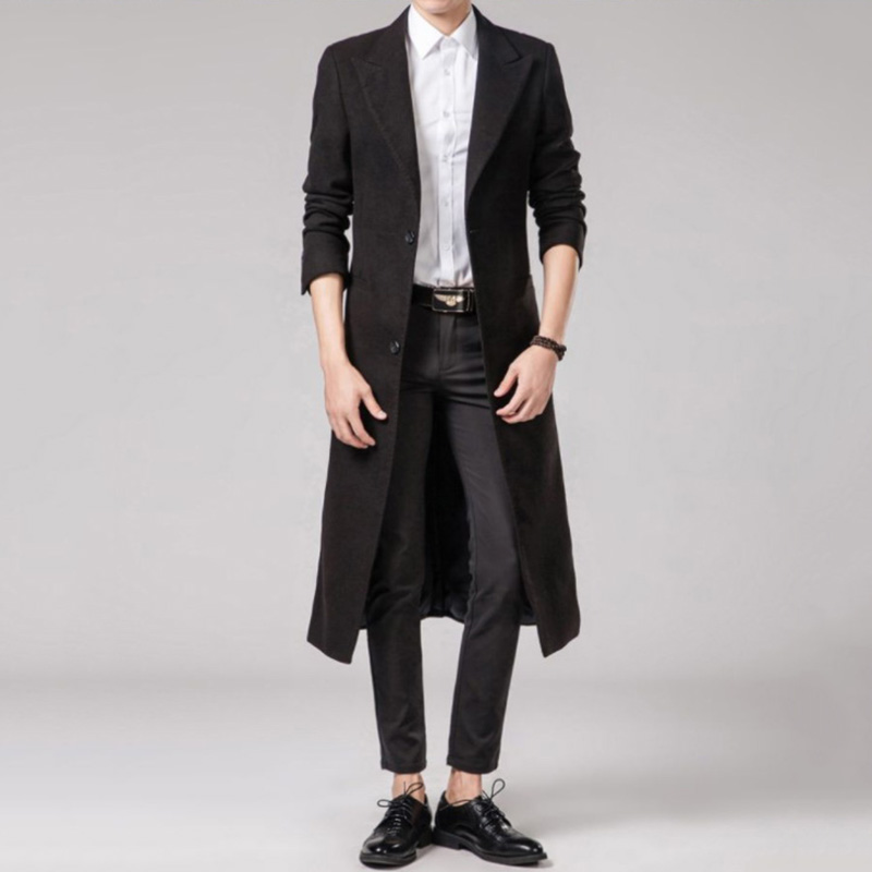 Mens Long Style Woolen Overcoat Suit Collar Slim Fit Trench