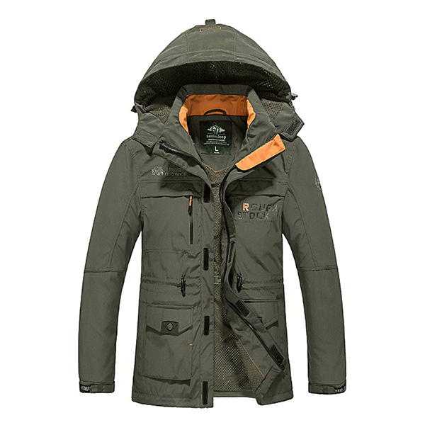 Mens Casual Outdoor Hooded Detactable Jacket Autumn Windbreaker Sport Coat