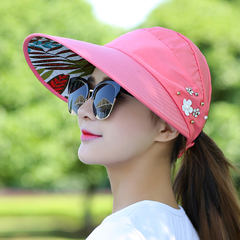 Women Ladies Summer Outdoor Anti-UV Beach Sunscreen Sun Hat Flower Print Caps