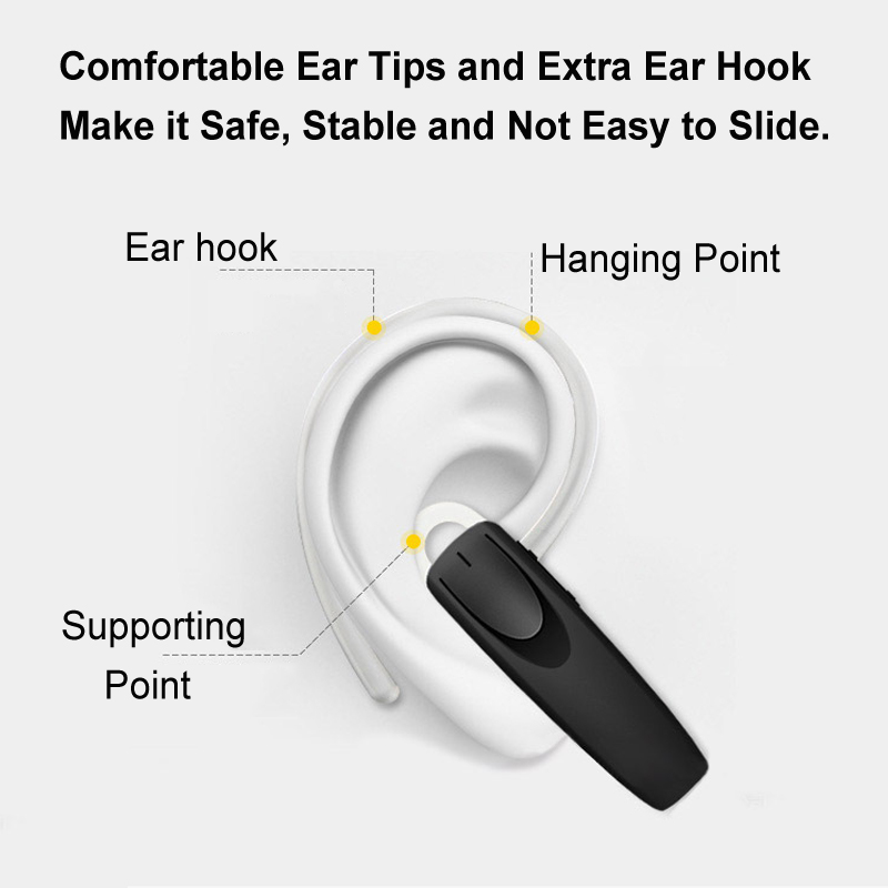 M6 Business Noise-cancelling Light Weight Wireless bluetooth Earphone Earbud with Mic for Cell Phone
