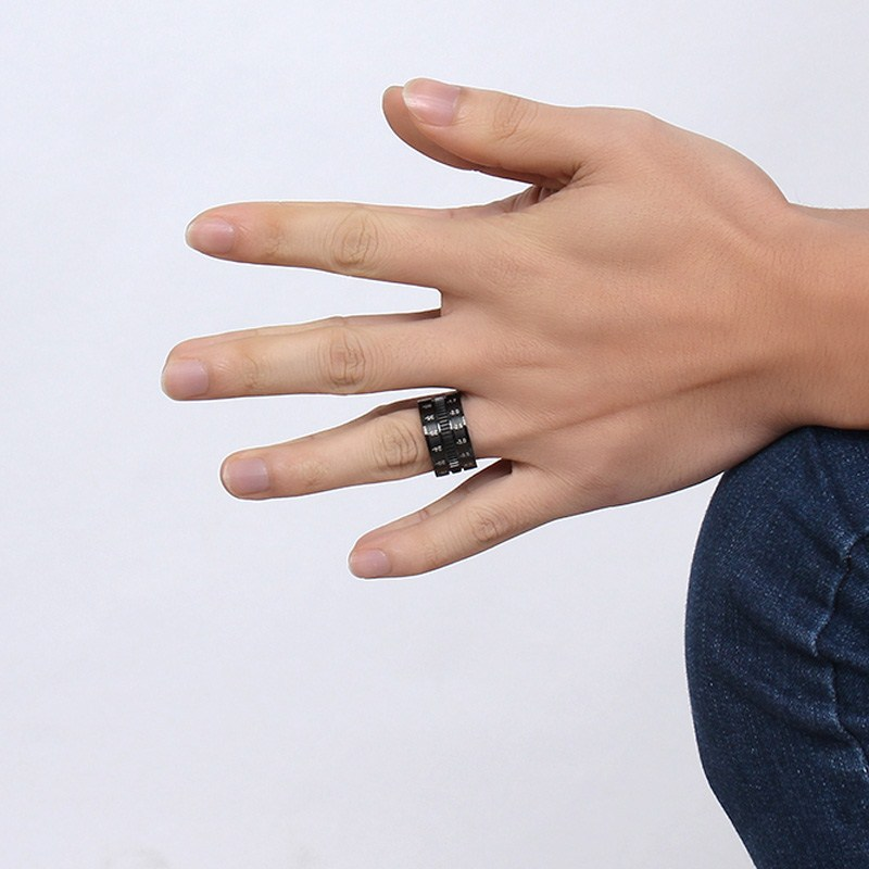 12mm Titanium Steel Black 316L Stainless Steel Finger Ring Spinner Camera Lens Focus Ring Men Ring