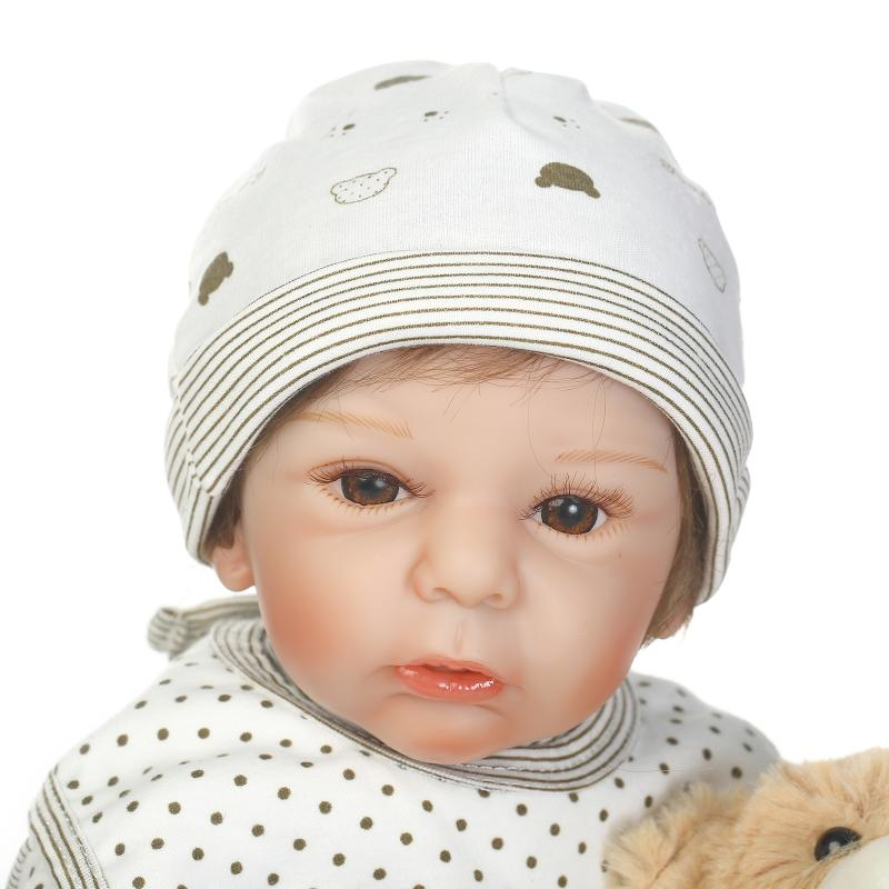 21'' 50cm Soft Silicone Reborn Baby Doll Real Like Smile Bonecas Doll Reborn Cute Christmas Gift