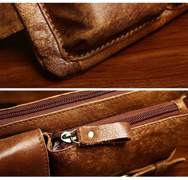 Men Genuine Leather Crossbody Bag Leisure Outdoor Sport Travel Shoulder Bag