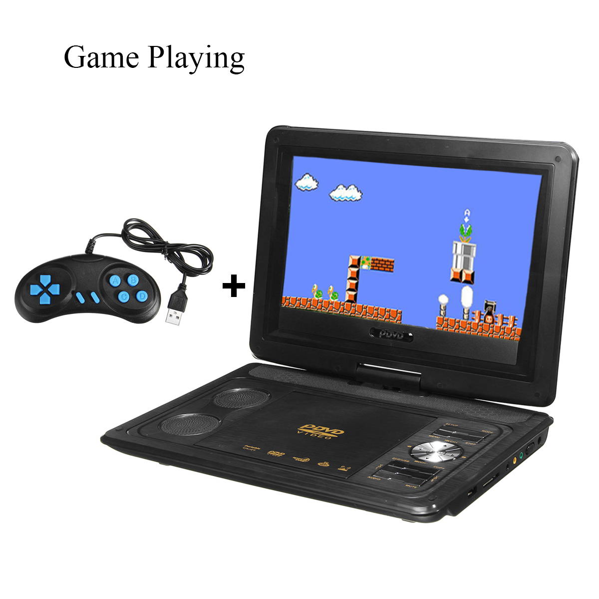 13.8 Inch Portable 180 Degree Rotation Rechargeable DVD Player with Gamepad