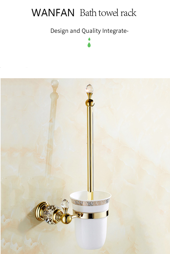 WANFAN HK-44 European style Brass Crystal Toilet Brush Holder Gold Plated Toilet brush Bathroom Products Bathroom Accessories useful