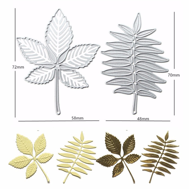 2Pcs Maple Leaf Metal Die Cutting DIY Scrapbook Photo Paper Gift Party Decor