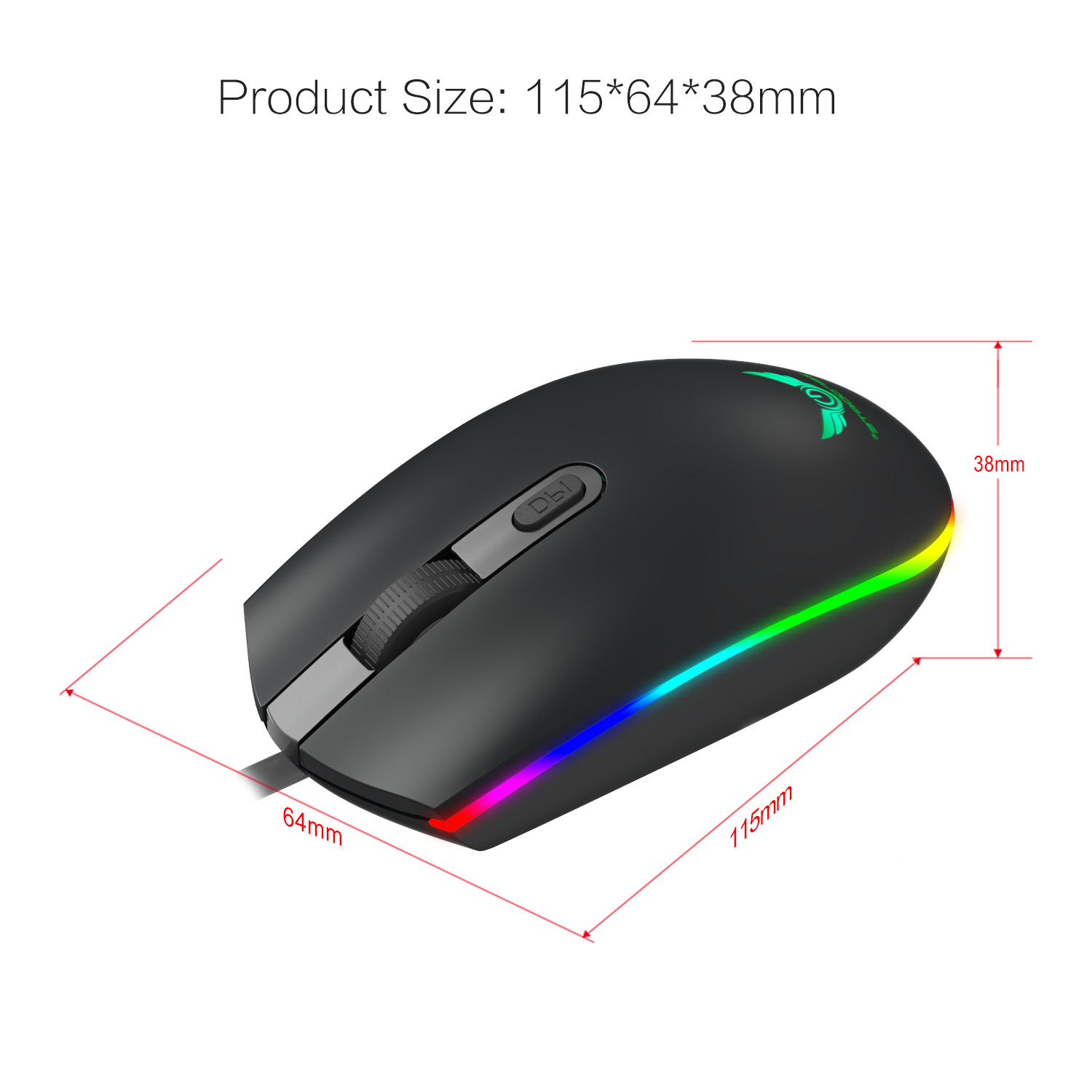 HXSJ S900 1600DPI RGB Full-color Marquee LED Backlight USB Wired Gaming Mouse