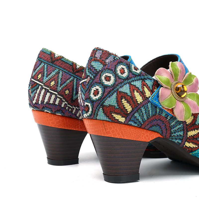 SOCOFY Stitching Bohemian Pattern Hook Loop Pumps