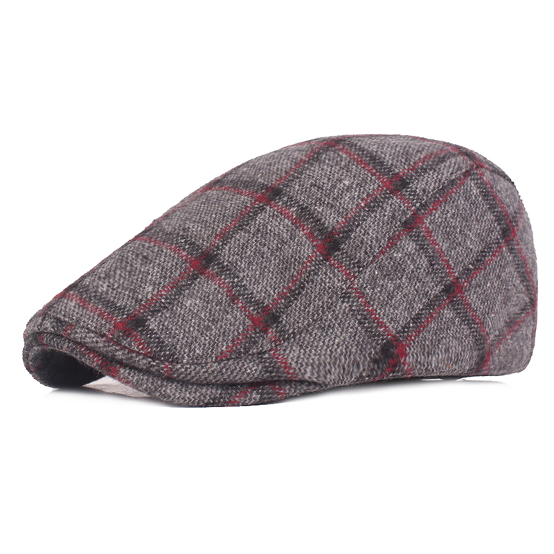 Mens Womens Winter Woolen Plaid Painter Beret Caps
