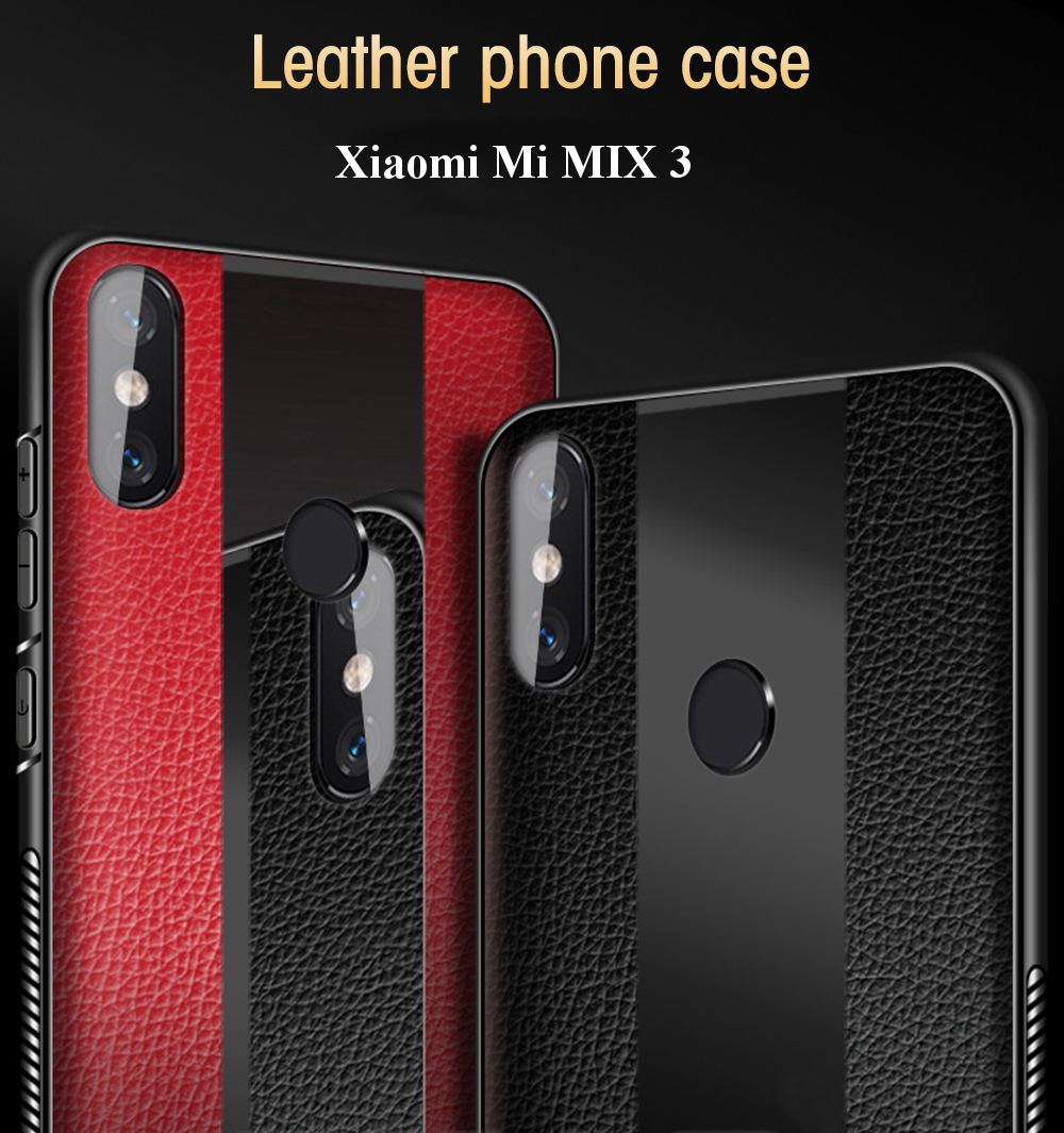Bakeey Luxury Shockproof Soft Silicone PU Leather Tempered Glass Protective Case For Xiaomi Mi MIX 3