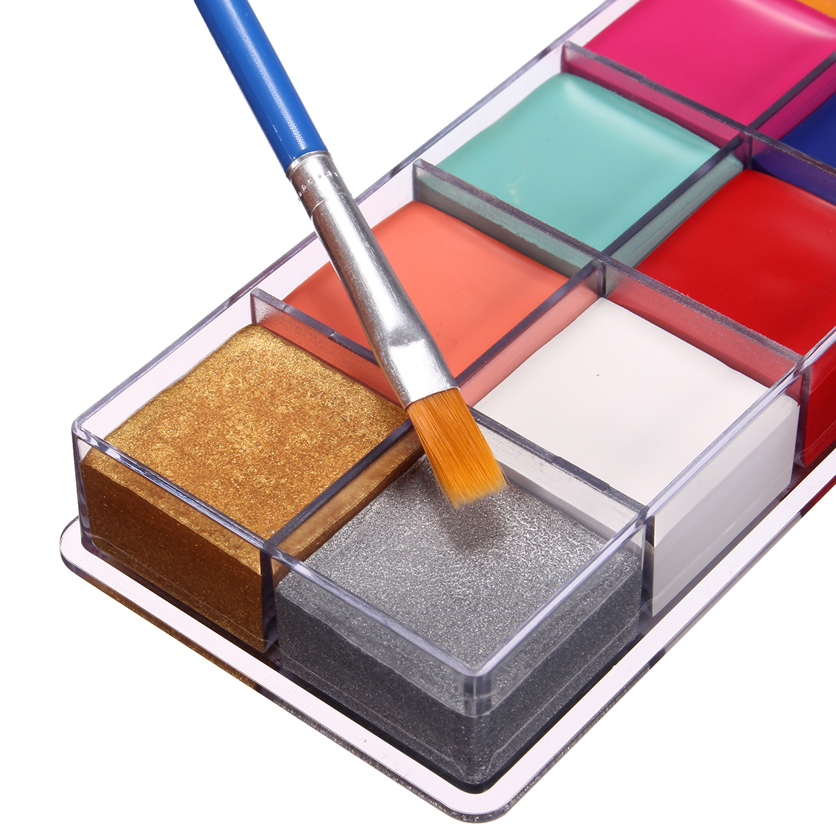 Pro 12 Colors Body Art Painting Oil Makeup Cosmetic Bright Party Facial Face with 4 Brushes