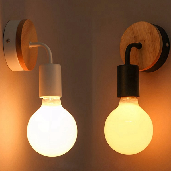 Modern Wood Metal E27 Holder Wall Lamp Bedroom Restaurant Corridor Lighting